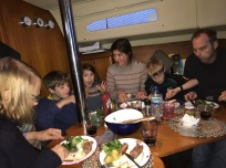 Meal on board at Craighouse mooring