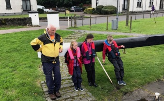Hugh Kirk with the children
